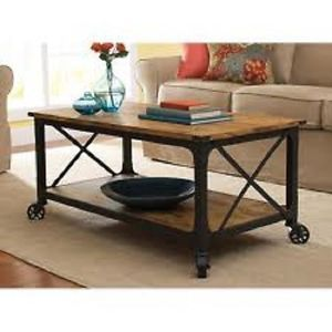 Rustic Iron Industrial Coffee Table Antique Black Furniture Living Dining Room