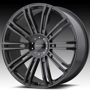 22 inch KMC Black Wheels Rims 5x5 5x127 2007 Jeep Wrangler Lifted