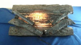 Vintage Wood Electric Fireplace Logs with Faux Fire Lights Up Works Great