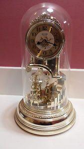 Musical Anniversary Mantel Clock by Rhythm Clocks Glass Dome Music Movement