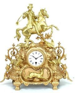 Antique Mantel Clock Horse Hunting Gilt Figural Striking French Mantle Clock