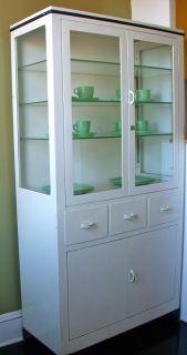 Vintage 2 Art Deco Original Doctors Steel Enamel Medicine Cabinets Display Cases