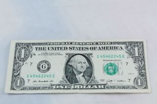 $1 One Dollar Bill Fancy Serial Number G 4546245 E