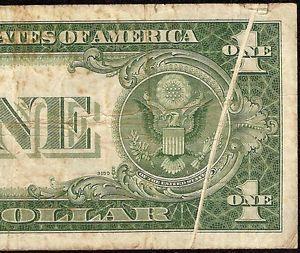 1935 C $1 Dollar Bill Gutter Fold Error Note Silver Certificate Paper Money