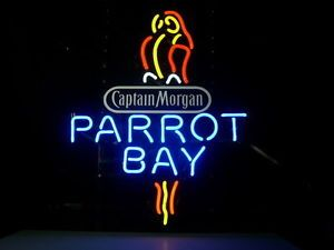New Captain Morgan Parrot Bay Spiced Rum Real Neon Beer Bar Pub Light Sign