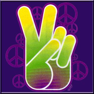 Neon Peace Fingers T Shirt s M L XL 2X 3X 4X 5X Sign Symbol Hippie Hippy Tee