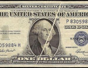 1935 E $1 Gutter Fold Error Note Silver Certificate Paper Money Dollar Bill