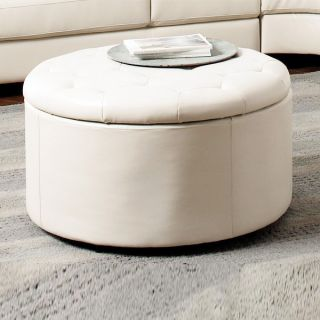 Round Leather Seating Accent Bench Ottoman Storage Sofa Stool 5 PEC White Living