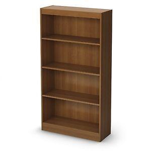 4 Shelf Bookcase Office Home Storage Furniture Display Shelving Cherry Wood New