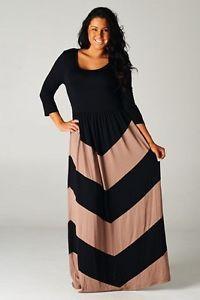 Plus Size New Womens Chevron Black Mocha Brown Maxi Long Dress Sexy 1x 2X 3X