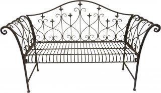Outdoor Rustic Look Metal Garden Bench Patio Seating Decorative Ornamental Back