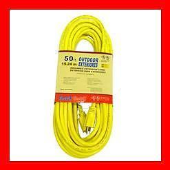 50' Foot 12 3 Yellow Heavy Duty Outdoor Extension Power Cord Electrical Outlet