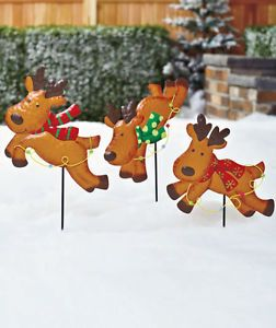 3 Metal Reindeer Garden Stakes Christmas Holiday Outdoor Yard Decor