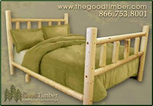 New Queen Size Pine Log Bed Rustic Furniture Beds