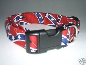 Rebel Confederate Flag Print Dog Collar Collars L