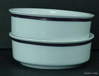 """Delta Airlines China 2 Bowls Blue and Gold Stripe 4 3 4"""" Logo on Back by ABCO"""