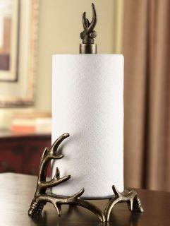 Antler Paper Towel Holder Metal Rustic Cabin Lodge Decor Deer Elk Moose Bronze