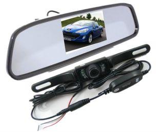 "4 3"" LCD Car Rear View Mirror Monitor Wireless IR Reverse Backup Camera Kit"