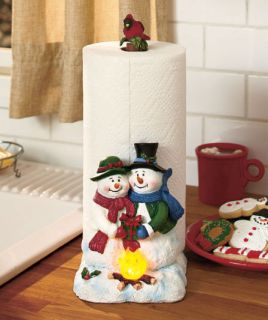 Snowman Couple Love Lighted Holiday Paper Towel Holder Christmas Kitchen Decor ...