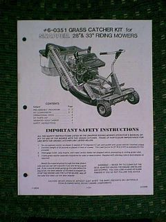 "Snapper Riding Mower 28"" 33"" Single Bagger Model 60351 Parts Manual"