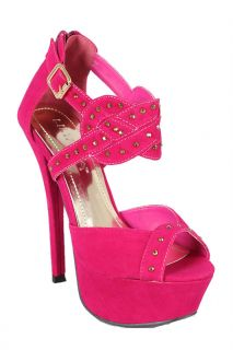 New Fuchsia Liliana Phoebe 11 Suede Jeweled Platform Open Toe Sandals 5 5 10