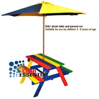 Children's Wooden Rainbow Garden Picnic Table Bench Parasol Set Kids ...