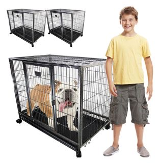 """2 x 37"""" Heavy Duty Dog Crate Kennel Wheels Portable Pet Puppy Carrier Cage Metal"""