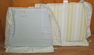 2 New Jaclyn Smith Chair Pads• Patio Cushions •Reversible •Seersucker•Blue Green