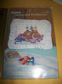 New Pillow Sham Craft Kit Bucilla Mr Moon Me Baby Counted Cross Stitch Fabric