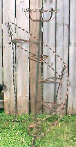 Antique vintage victorian spiral 6 tier wrought iron plant for 4 foot spiral staircase