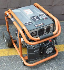 Ridgid 5 700 Watt Yamaha 301 CC Gasoline Powered Portable Generator Nice