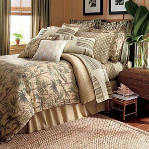 Chaps by Ralph Lauren Palmetto Full Comforter 4pc Set Palm Trees Tropical Green