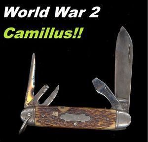 Old Vtg 1940s Camillus 4 Line US Army Utility Camp Knife Bone Handle