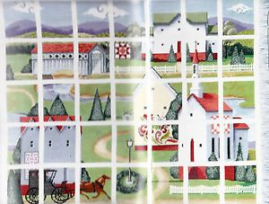 Countryside Afghan Counted Cross Stitch Pattern Quilts Horse Buggy Barn Sale