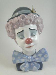 "Vintage Lladro Sad Clown Spain 5611 Statue Figurine Circus Retired 8"" Tall Old"