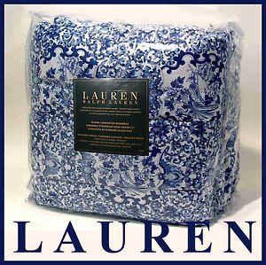 Ralph Lauren Blue Porcelain Tamarind Queen Comforter 4 PC Set Shams Bedskirt New