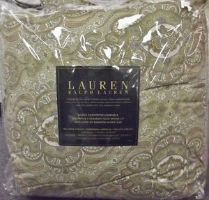 $400 New Ralph Lauren Colchester Green Paisley Queen Comforter 4 PC Set New