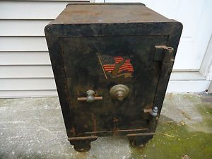 Antique 1900's Heavy Steel Floor Safe on Wheels 48 Stars American Flag