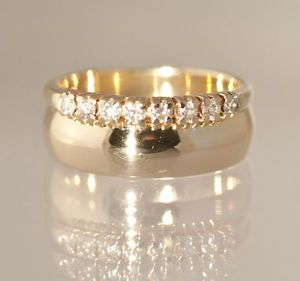 14k Yellow Gold Diamond Wedding Band Ring Soldered Together 4 03G Size 3 5
