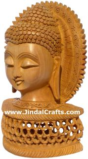 Handmade Wood Sculpture Buddha Head Figurine Indian Art Tibetan Figurine Crafts