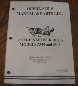 Grasshopper 3344 3348 Riding Mower Deck Parts Operators Manual Catalog
