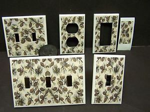 Rustic Cabin Pine Cones and Branch 5 Light Switch Cover Plate or Outlet Cover