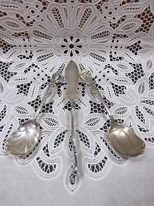 3 Old Silver Nickel Flatware 2 Spoons 1847 Rogers Bros Butter Knife Acorn