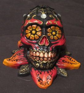 Hand Painted Skull Occult Voodoo Fetish Art Sculpture