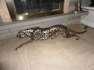 Beautiful Large Hot Cast Bronze Silver Spotted Cheetah Near 4 Feet Long