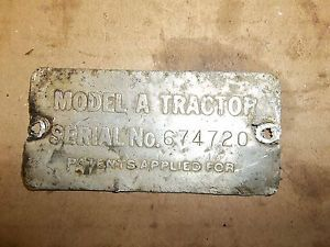 John Deere 1951 A Serial Number Tag Original
