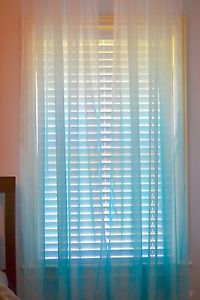 Xhilaration Set of 2 Ombre Panel Sheer Curtains Blue Teal Aqua Turquoise 84""