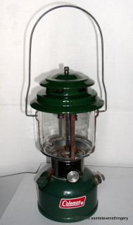 Old 9 73 Coleman Model 220H Gas Lantern with Red Pyrex Globe