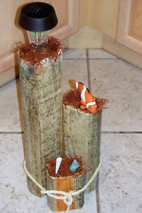 Clown Fish Wooden Decorative Garden Solar Light Post