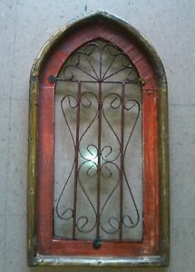 New 100 Mexican Red Vintage Looking Wrought Iron Wood Arc Design Window Frame